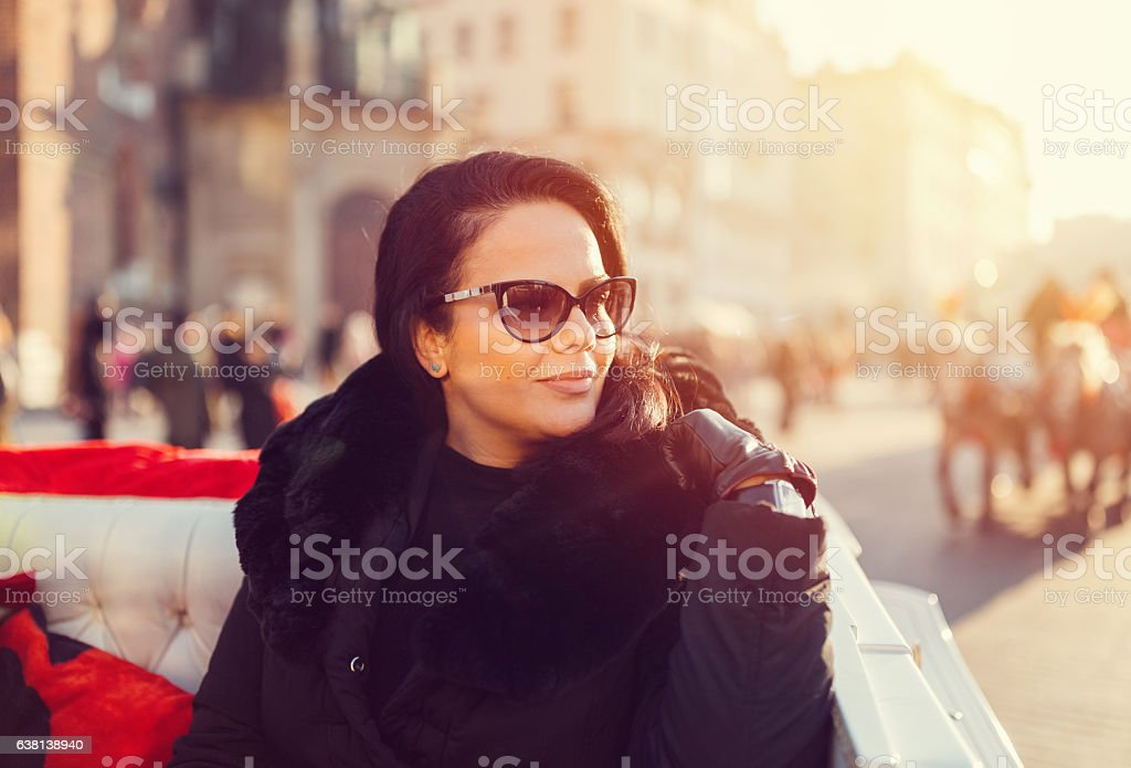 Young woman enjoying Krakow stock photo