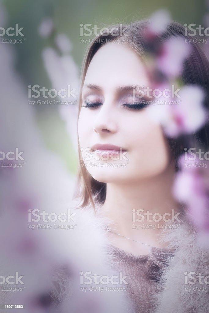Young woman enjoying spring royalty-free stock photo