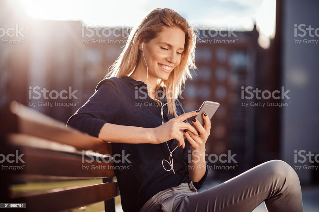 Young woman enjoying the afternoon stock photo
