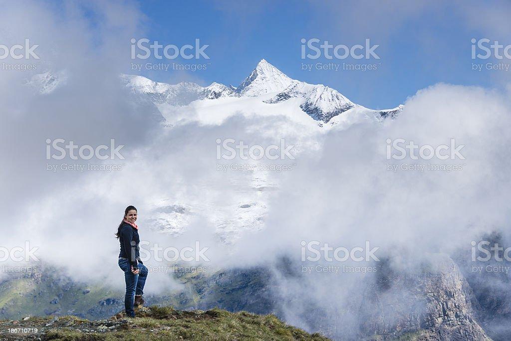 Young woman enjoying the mountains -XXXL royalty-free stock photo