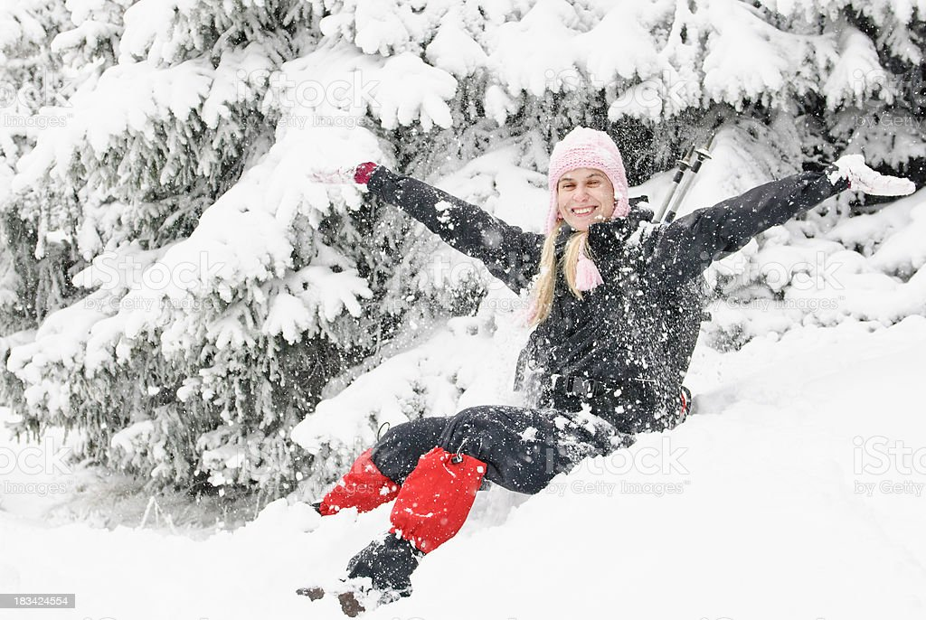 young woman enjoying the snow royalty-free stock photo
