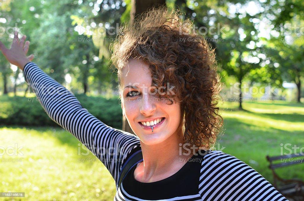 Young Woman enjoying the sun stock photo