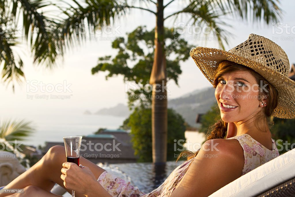 Young woman enjoying the sunshine royalty-free stock photo