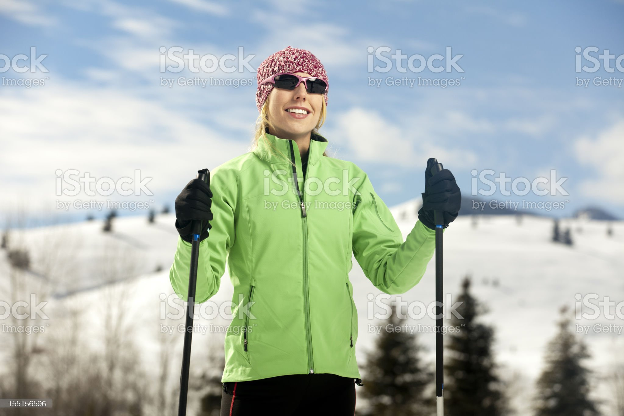 Young Woman Enjoys Back Country Nordic Skiing royalty-free stock photo