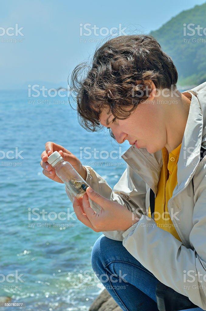 Young woman entomologist stock photo
