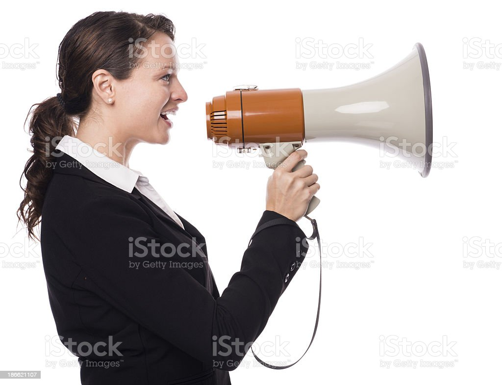 Young Woman Executive with Megaphone Bullhorn on White stock photo