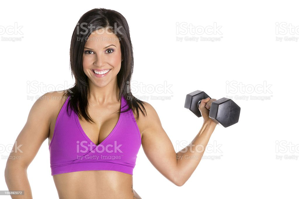 Young Woman Exercising with Hand Weights - Isolated stock photo
