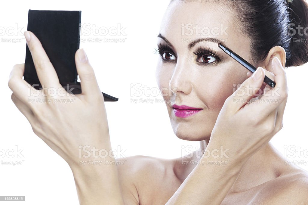 young woman eyebrows paint royalty-free stock photo