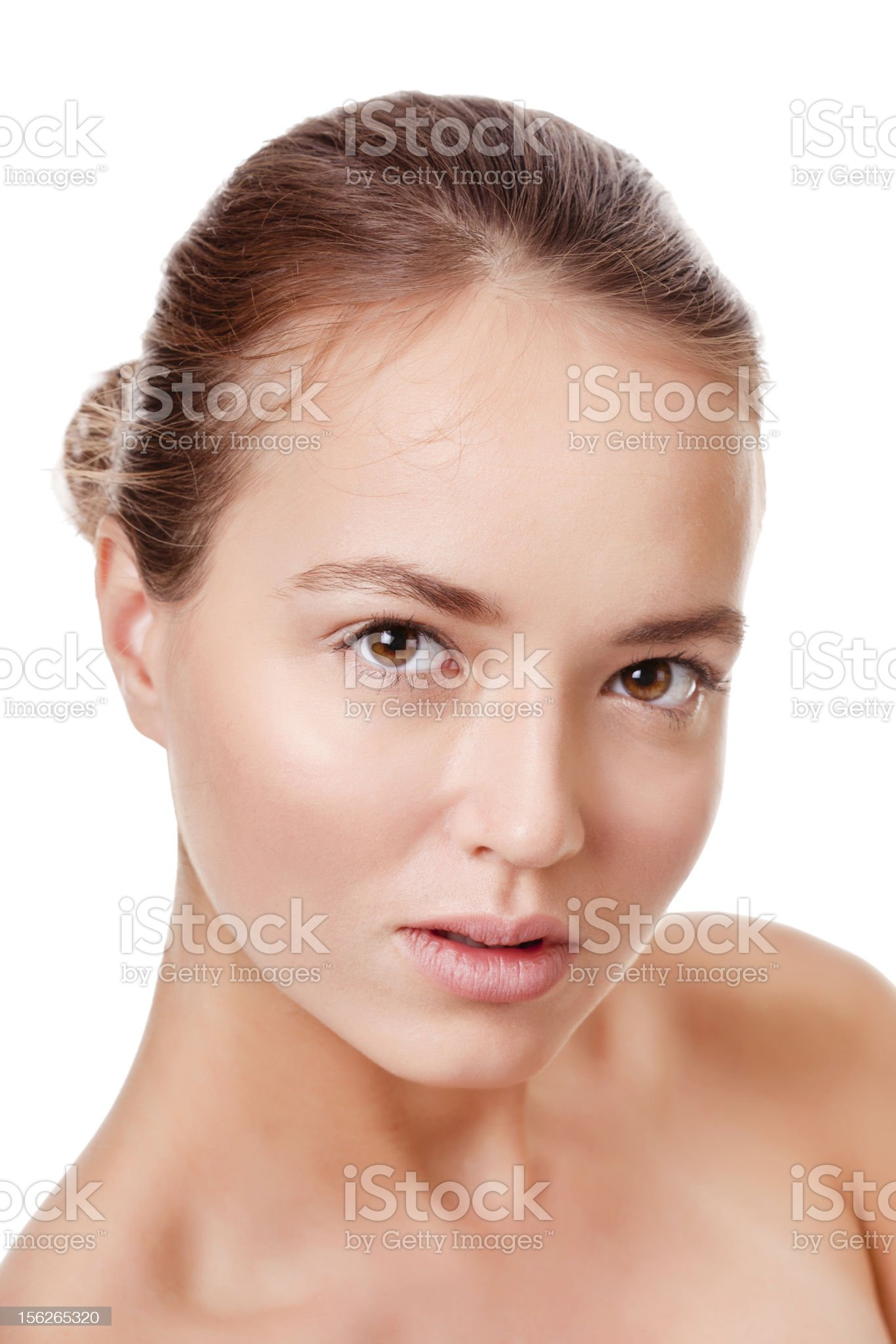Young woman face on white royalty-free stock photo