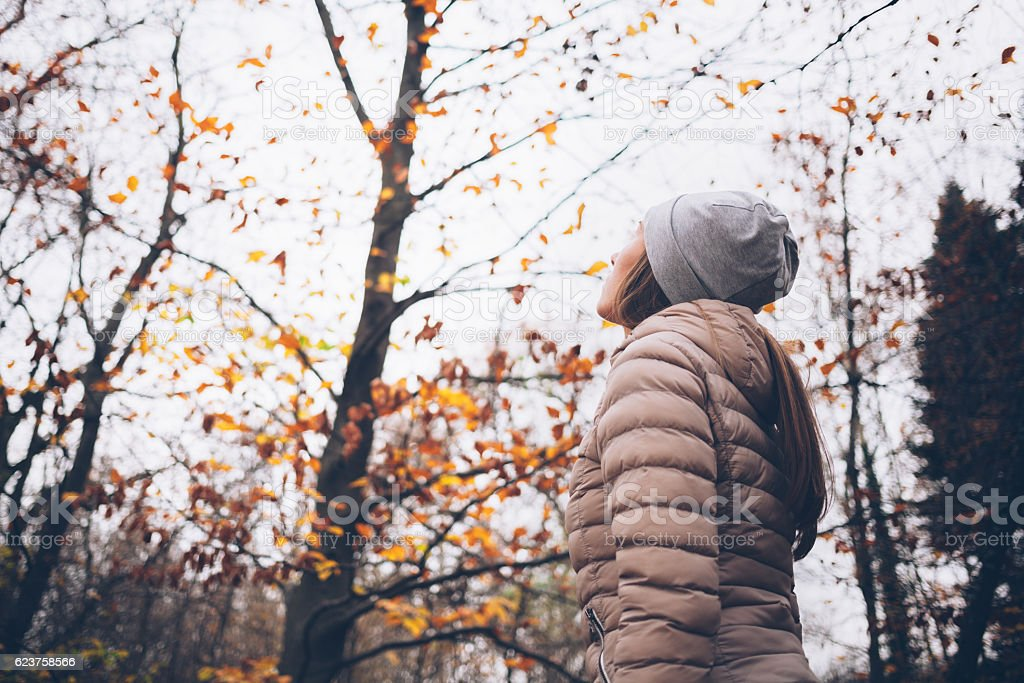 Young woman facing the woods in the autumn stock photo