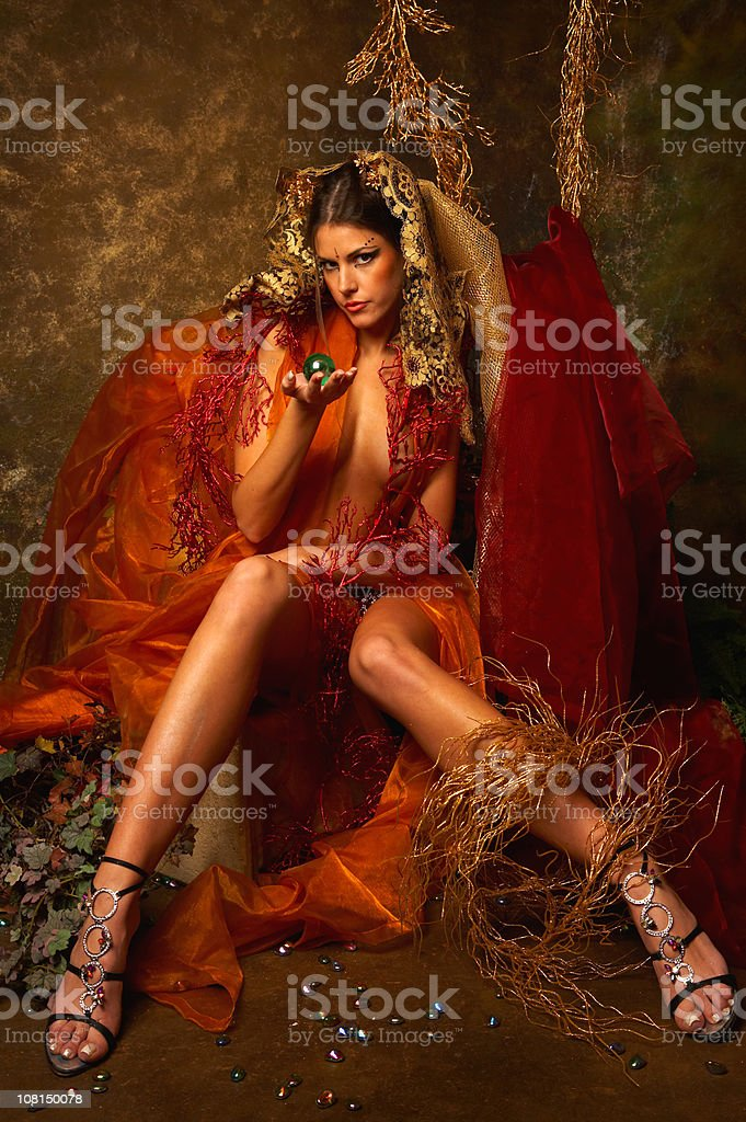 Young Woman Fairy Posing with Autumn Scene royalty-free stock photo