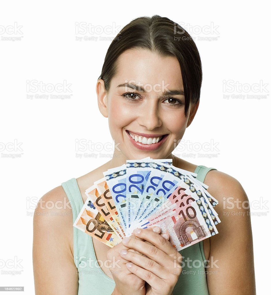 Young Woman Fanning Money - Isolated royalty-free stock photo