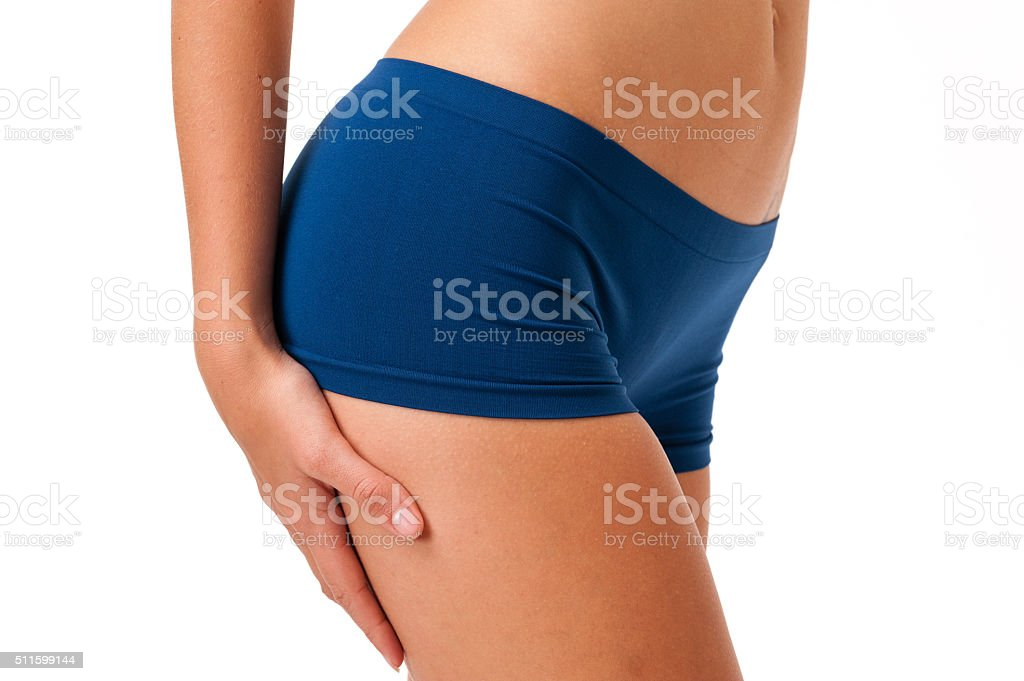 Young Woman Fitness Model on White stock photo