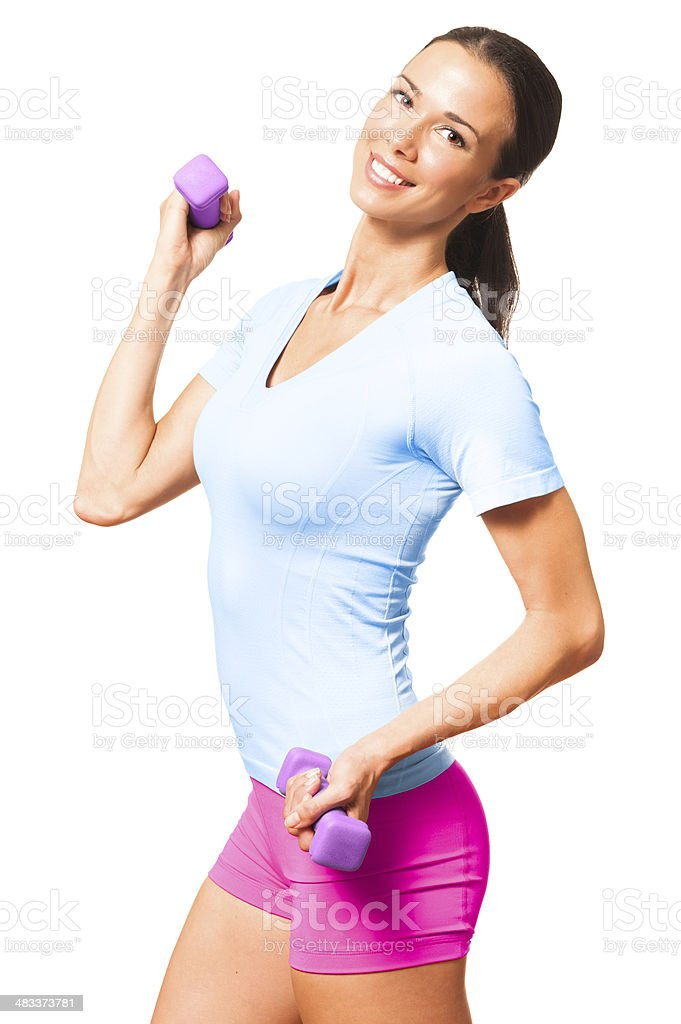 Young Woman Fitness Trainer with Dumbbells Isolated on White Background stock photo