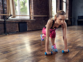 Young woman fitness training