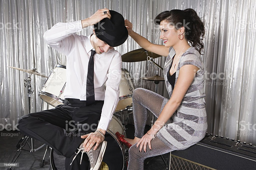 Young woman flirting with man stock photo