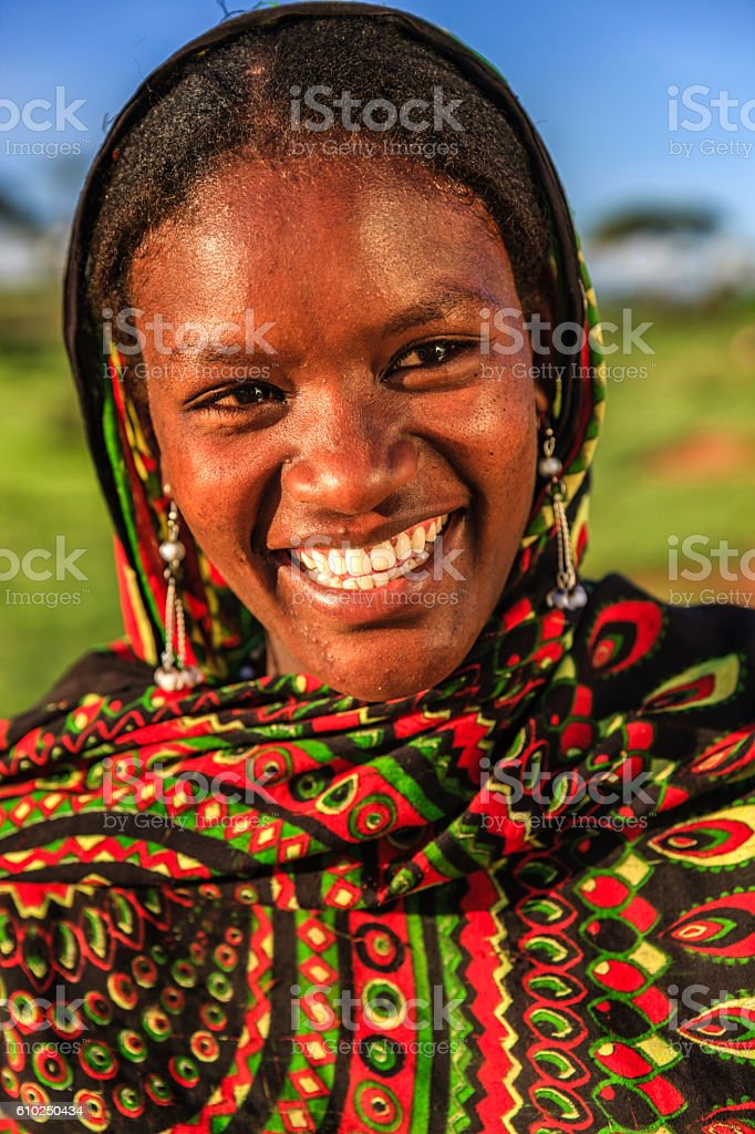 Young Woman from Borana tribe, southern Ethiopia, Africa stock photo