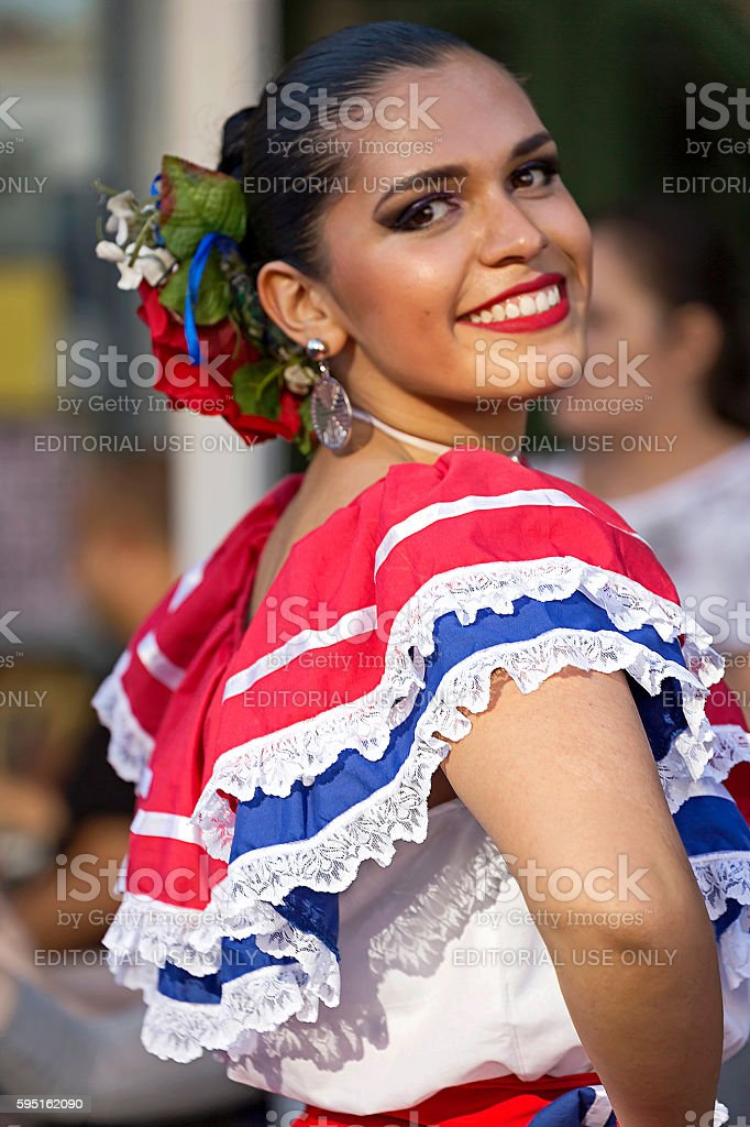 Young woman from Costa Rica in traditional costume stock photo