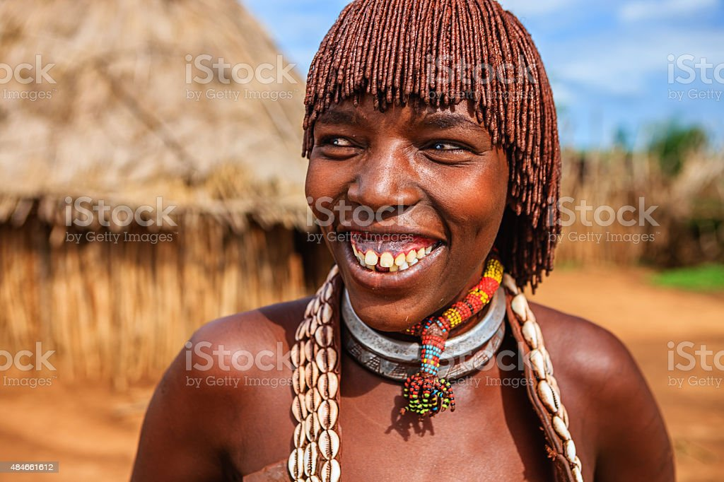 Young woman from Hamer tribe, Ethiopia, Africa stock photo