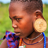 Young woman from Mursi tribe, Ethiopia, Africa