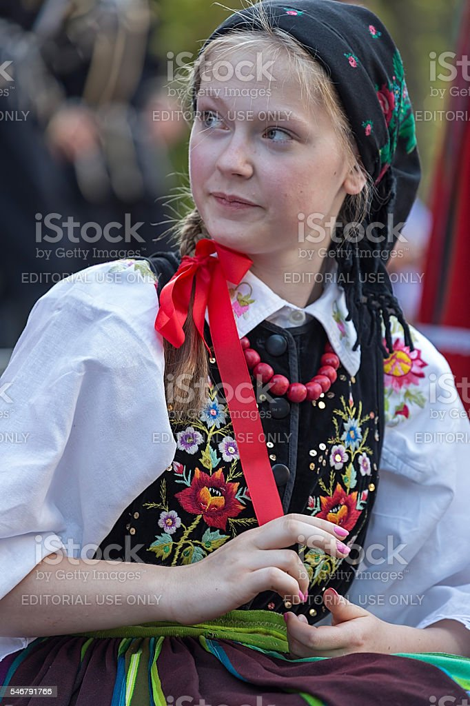 Young woman from Poland in traditional costume stock photo
