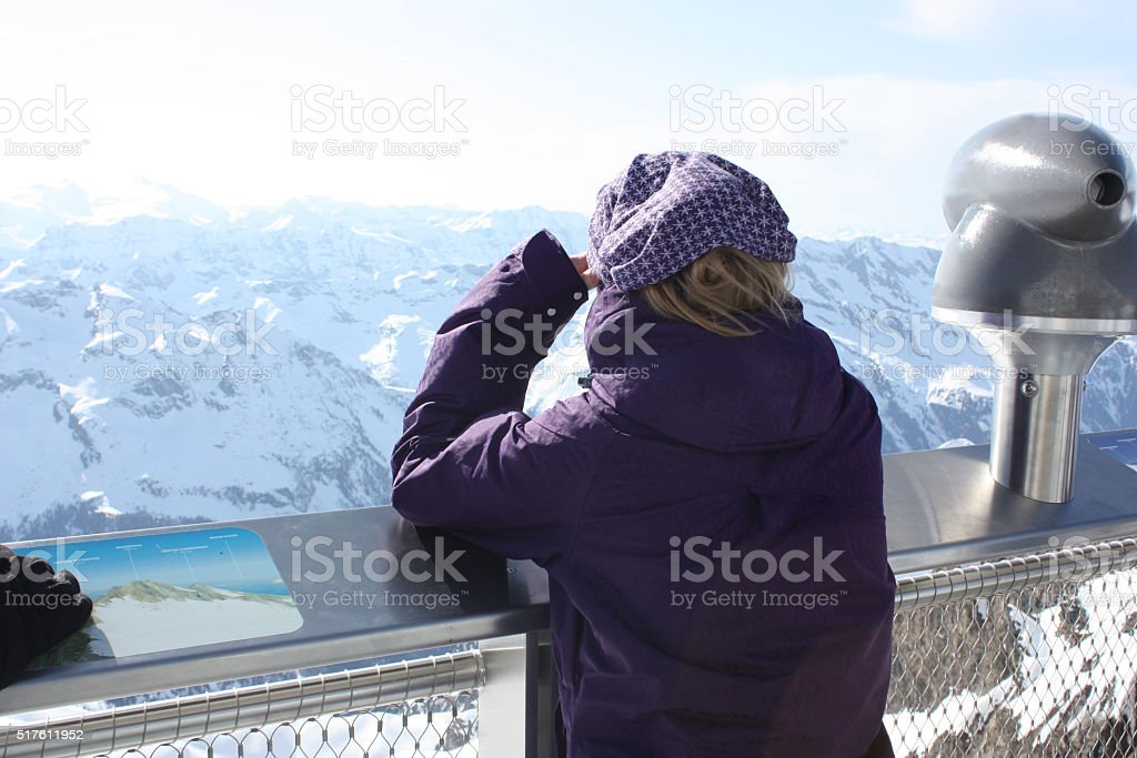 Young woman from the back. Observation platform. stock photo