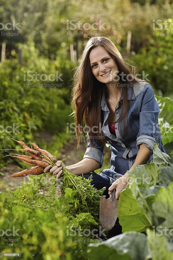 Young woman gardener holding a sheaf of carrots royalty-free stock photo