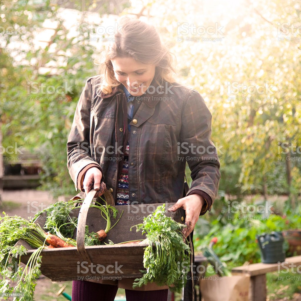 Young woman gardening stock photo