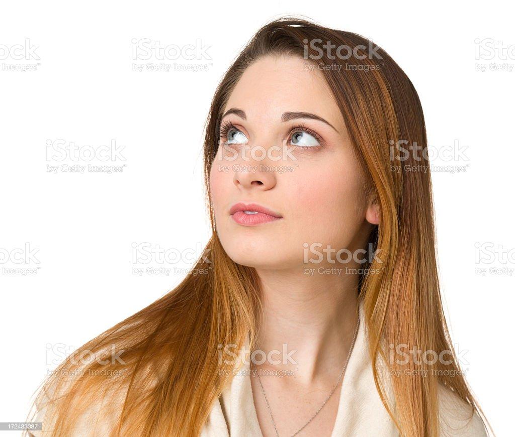Young Woman Gazes Upwards royalty-free stock photo