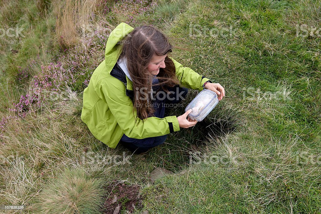 Young woman geocaching stock photo
