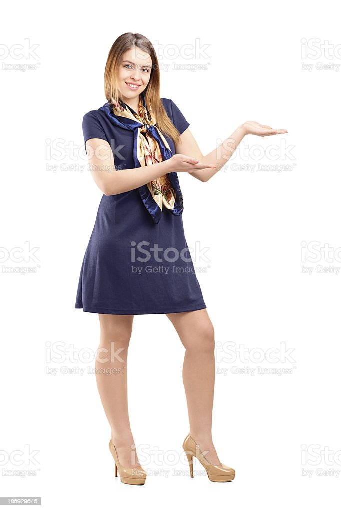 Young woman gesturing with hands royalty-free stock photo