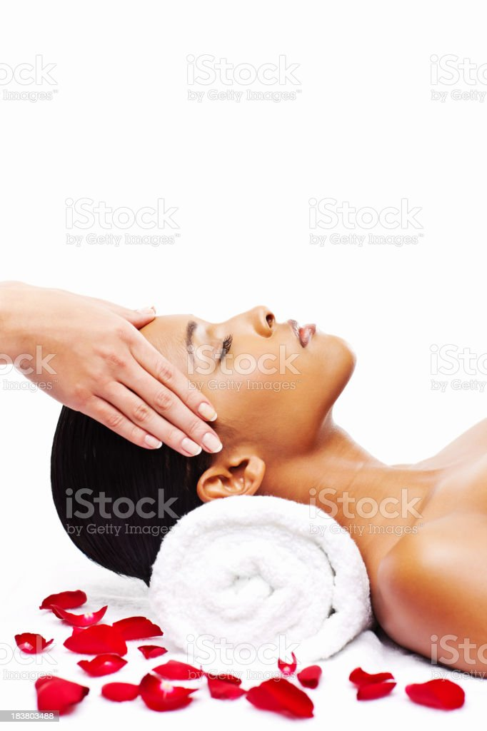 Young Woman Getting a Head Massage royalty-free stock photo