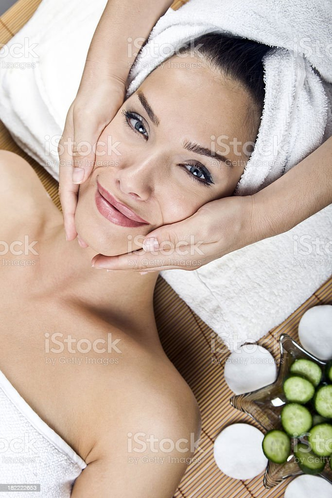 young woman getting spa treatment royalty-free stock photo
