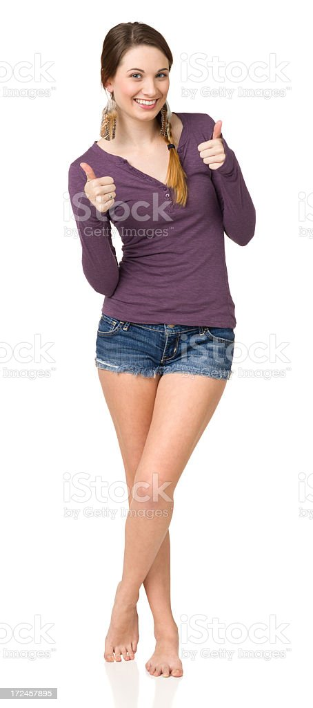 Young Woman Gives Thumbs Up, Full Length royalty-free stock photo