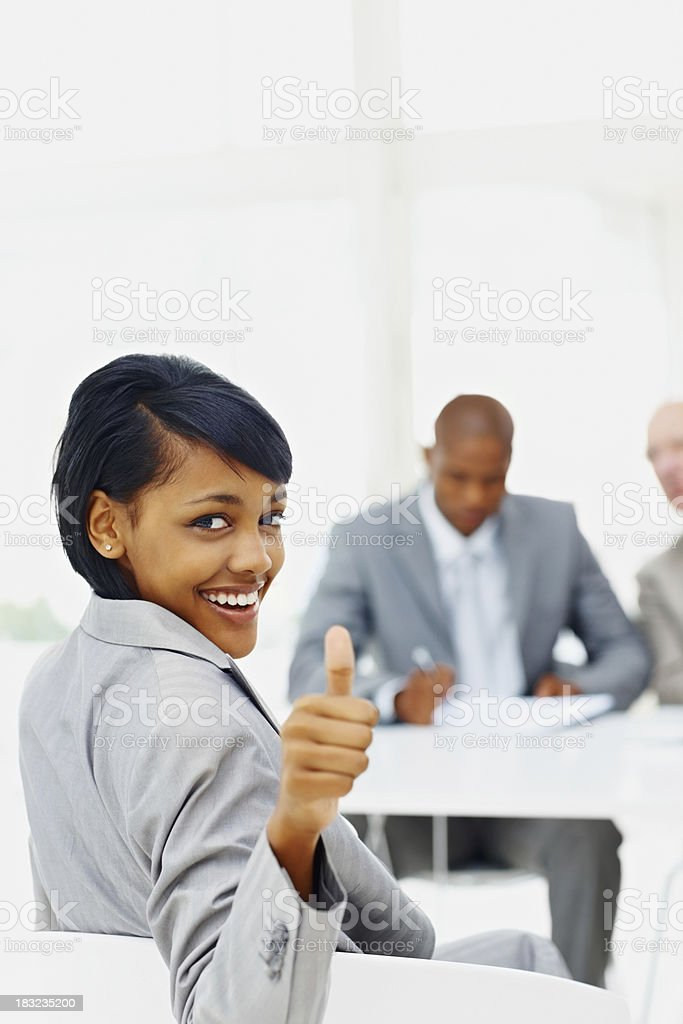 Young woman got the job by a successful interview royalty-free stock photo
