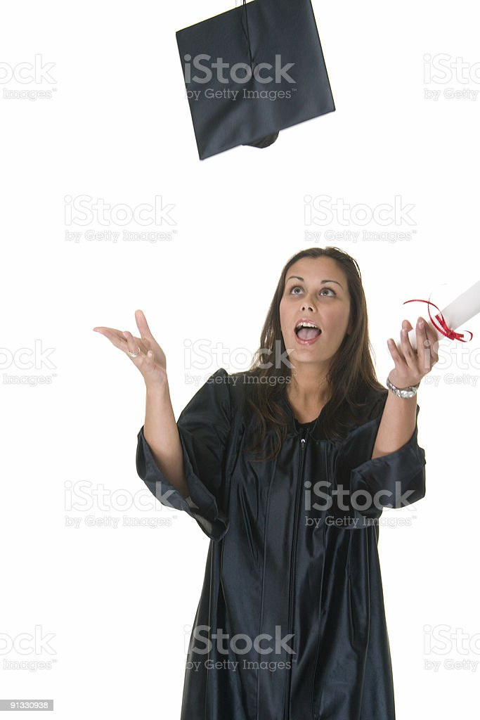 Young Woman Graduate Receives Diploma royalty-free stock photo