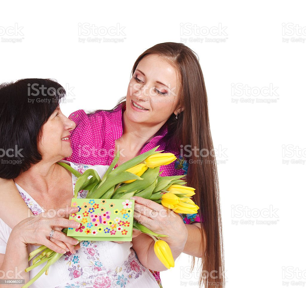 Young woman greeting her mother royalty-free stock photo