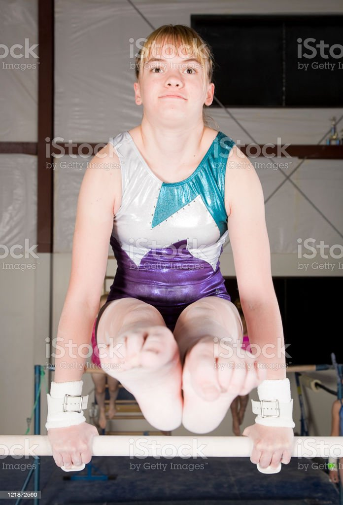 Young Woman Gymnast in a Gym stock photo