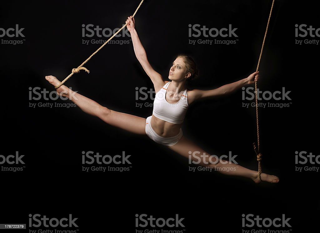 Young woman gymnast. stock photo