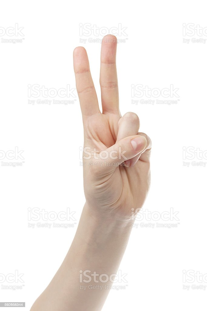 young woman hand count 2 stock photo
