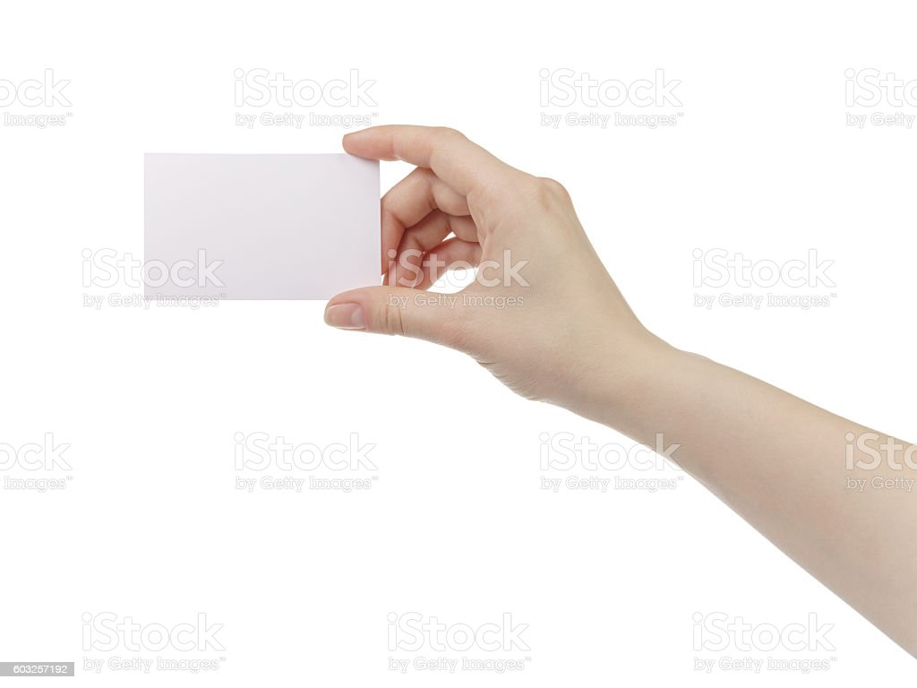 young woman hand hold and showing empty paper card stock photo