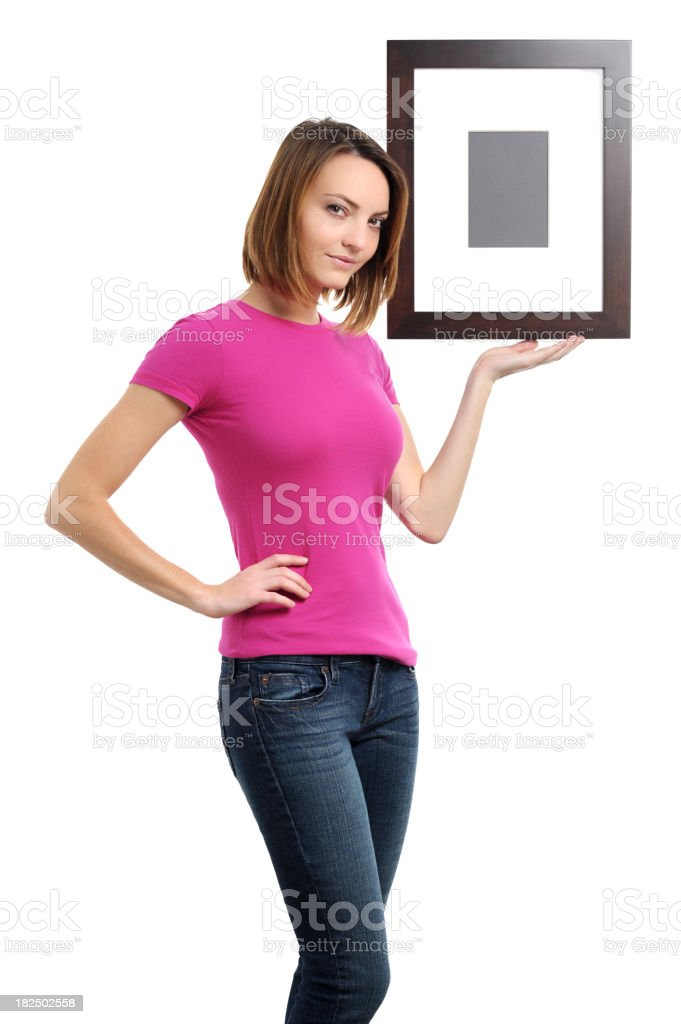 Young Woman Hanging Frame Isolated on White Background royalty-free stock photo