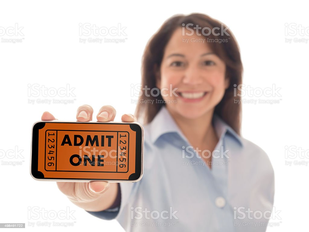 Young Woman Happily Displays her Admission Ticket stock photo