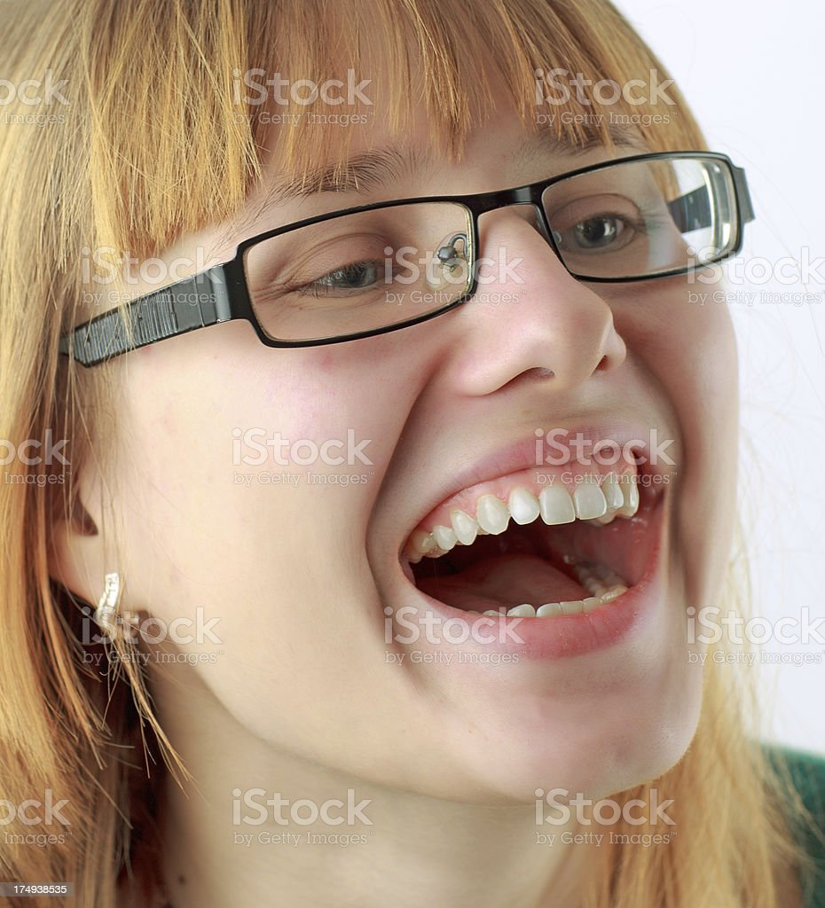 Young woman happy and laughing stock photo