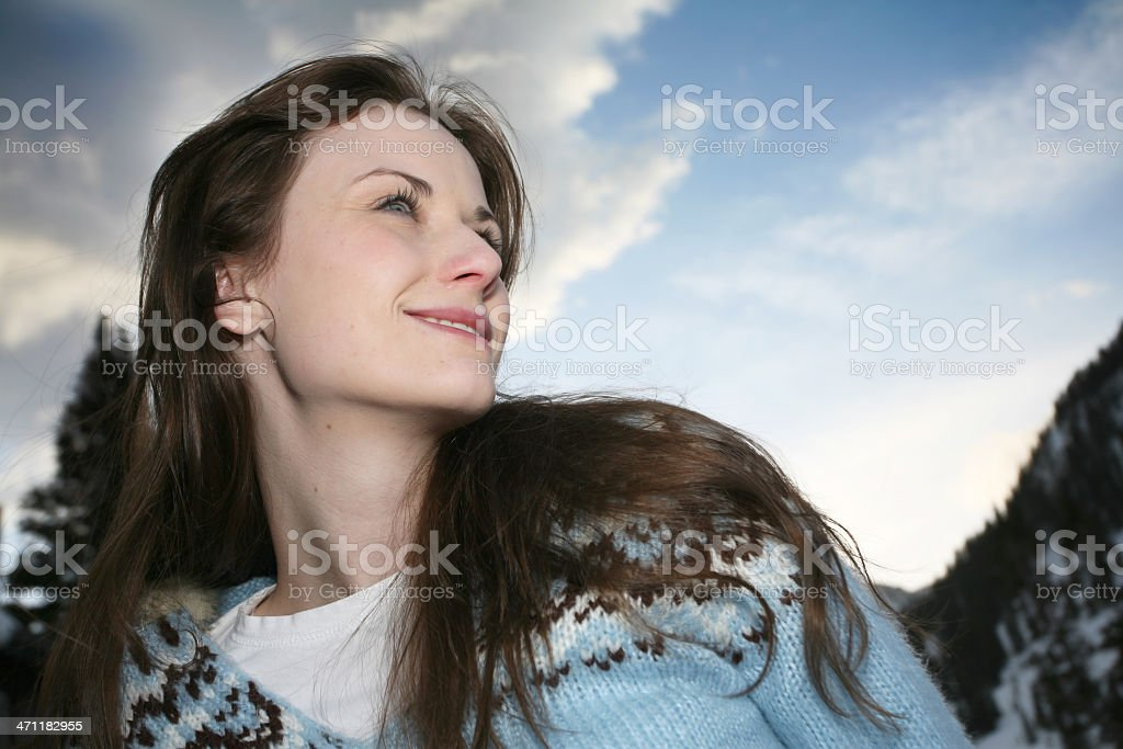 Young Woman Happy in the Mountains royalty-free stock photo