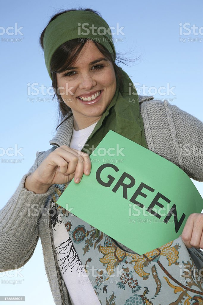 Young Woman Happy To Go Green stock photo