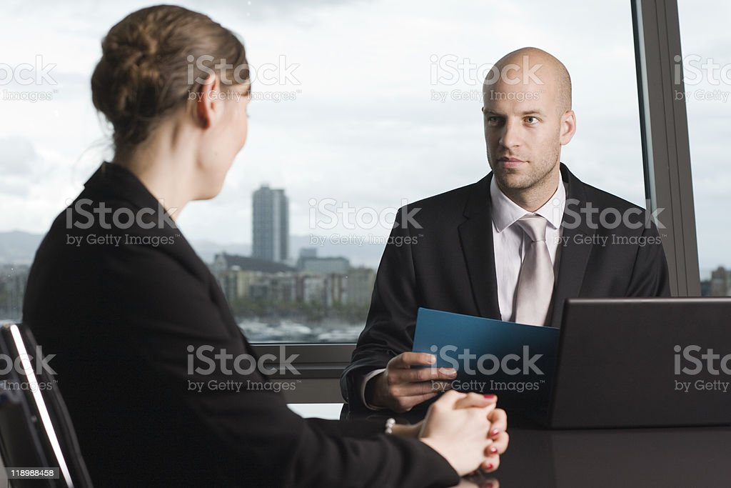 Young woman having a job interview royalty-free stock photo