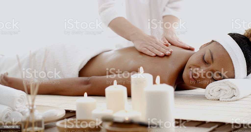 Young Woman Having A Massage In Spa stock photo
