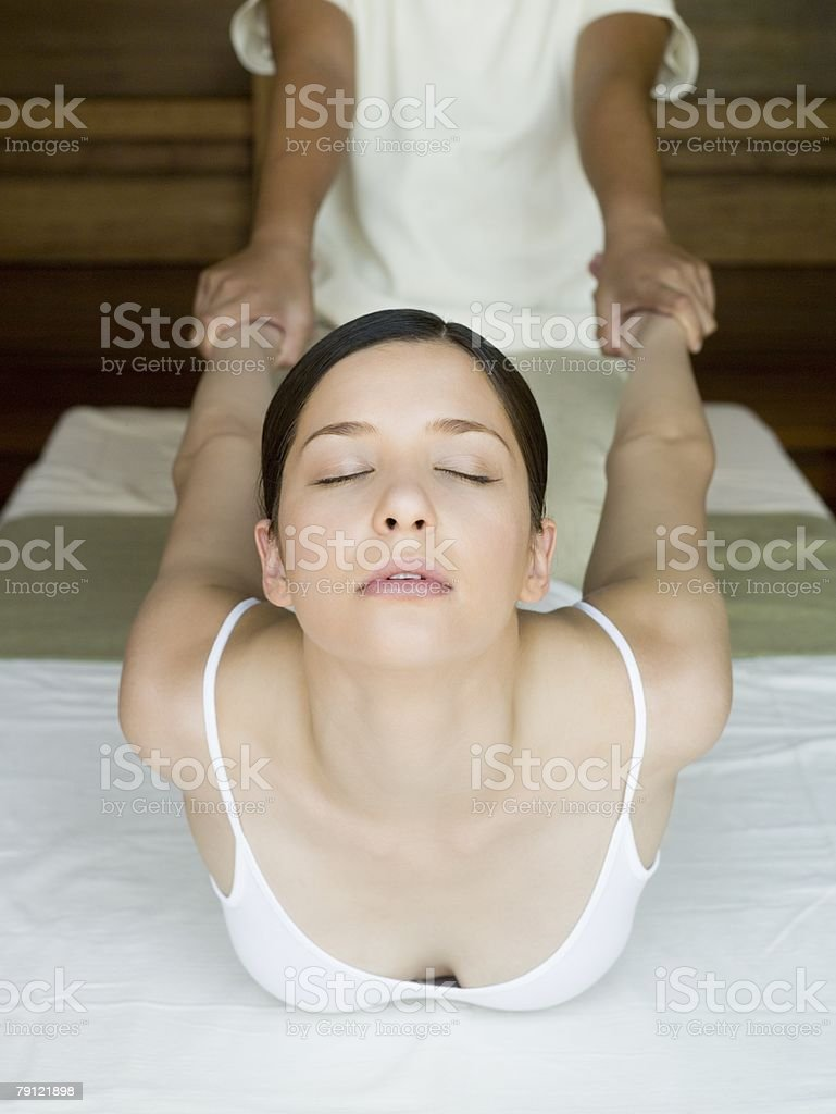 Young woman having a thai massage stock photo