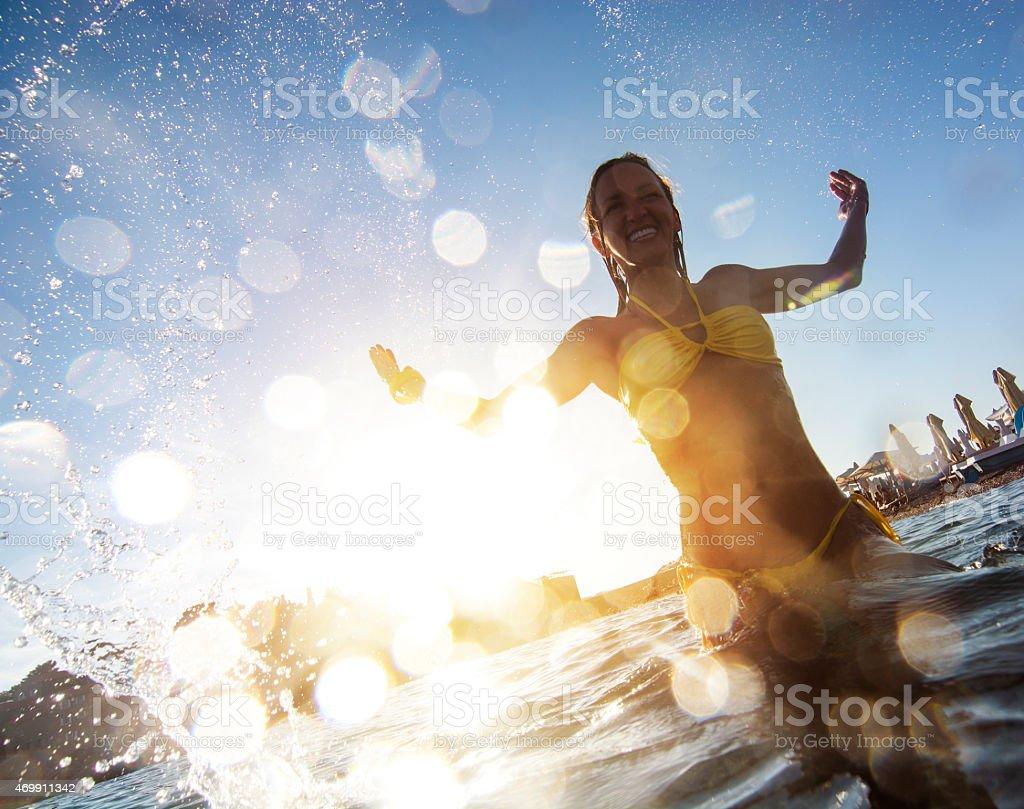 Young woman having fun stock photo